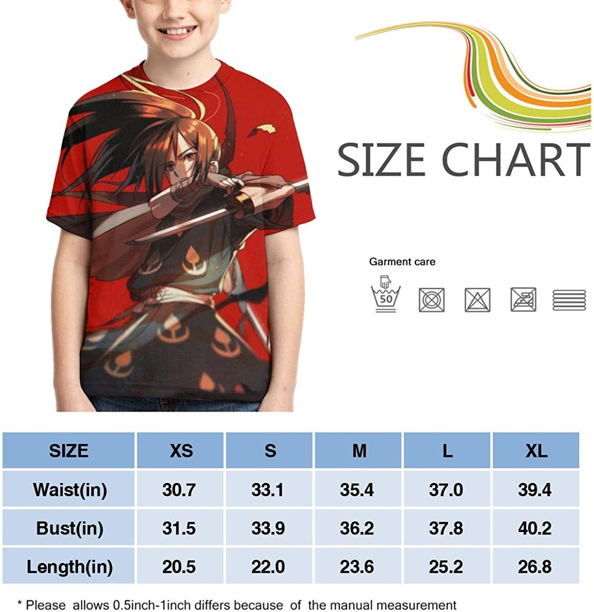 Dororo Anime Hyakkimaru Cool Red Teens Crew Neck Sweat-Absorbent Breathable Sports Short-Sleeved Summer Boys T-Shirt