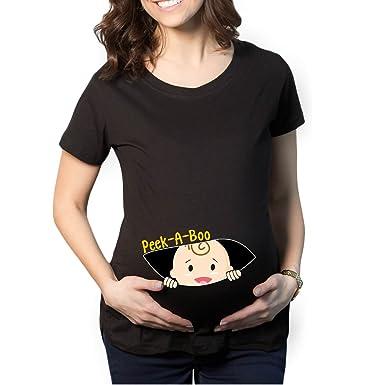 1b2fc563 YaYa cafe Mothers Day Peek a Boo Baby Women's Pregnancy Maternity T-Shirt  Top Tee
