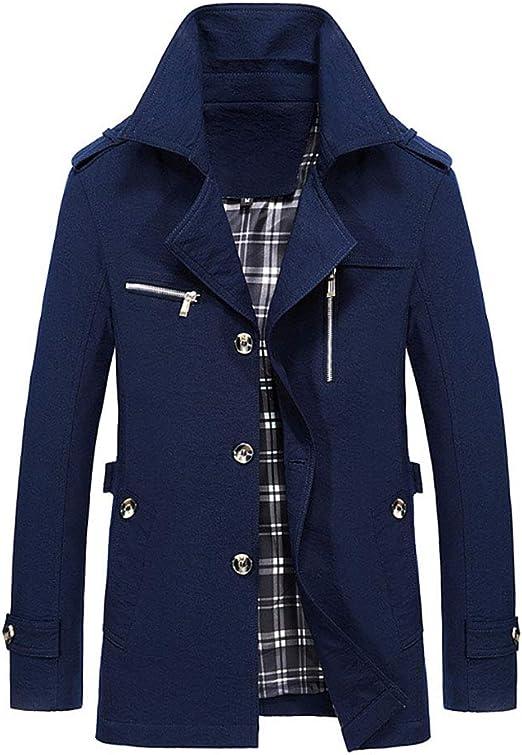 シングルブレストの折り襟とパッド入りの裏地が付いたメンズウィンターコート