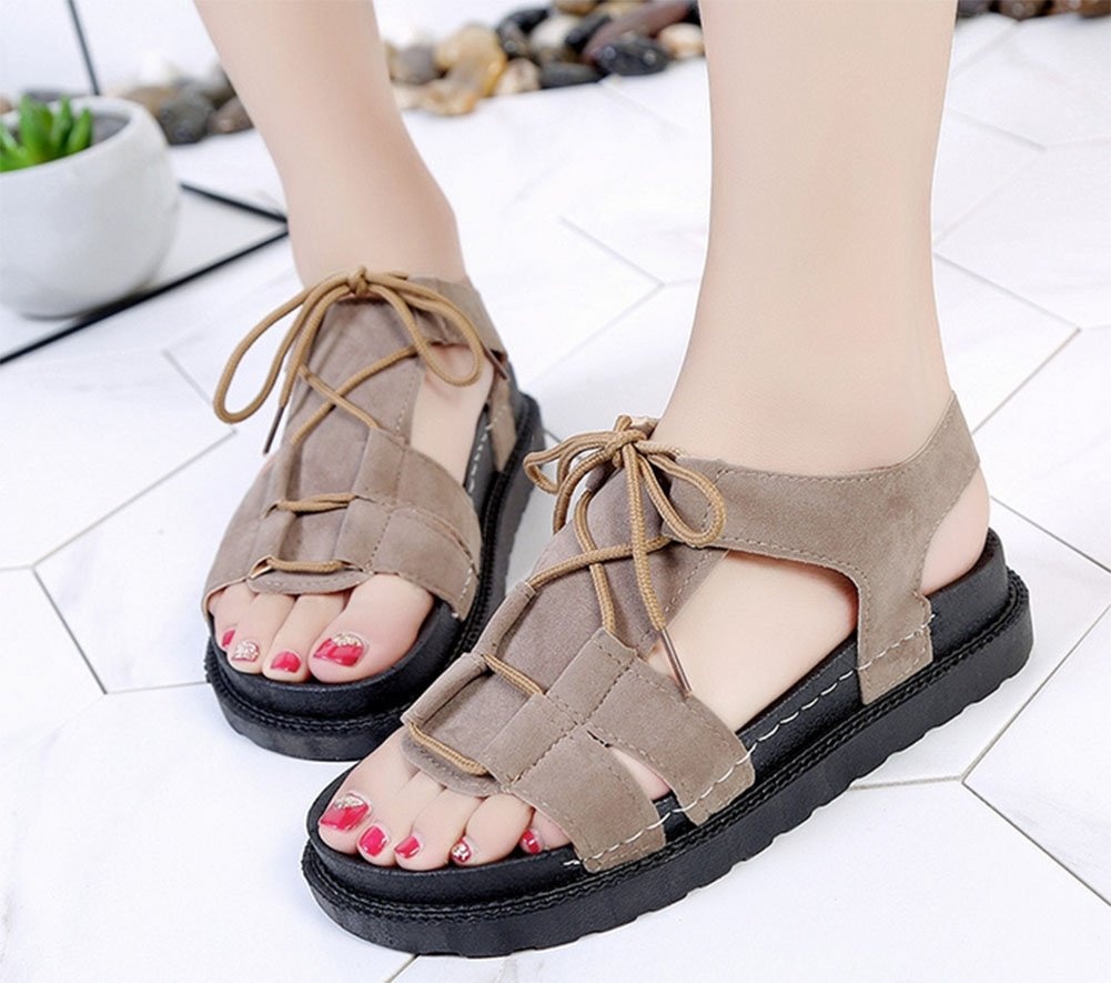 KUKI Frau Sommer Sandalen koreanische beiläufige flache Muffin Student Schuhe dick besohlte Füße Low-Heels Spitze römische Schuhe, 1, US5.5/EU35/UK3.5/CN35