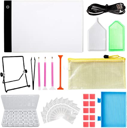 86pcs Diamond Painting Boxes and Diamond Painting Accessories Diamond Painting Roller with Stand Holder Clips Outuxed 130pcs 5D Diamond Painting A4 LED Light Pad and Tools Set