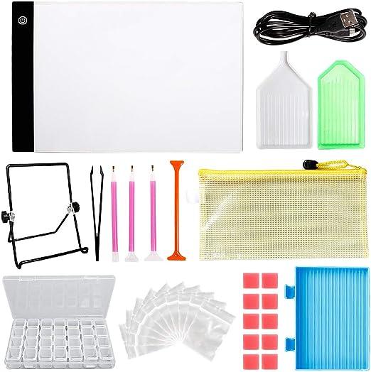 Kit de pintura de diamantes con caja de luz regulable, incluye ...