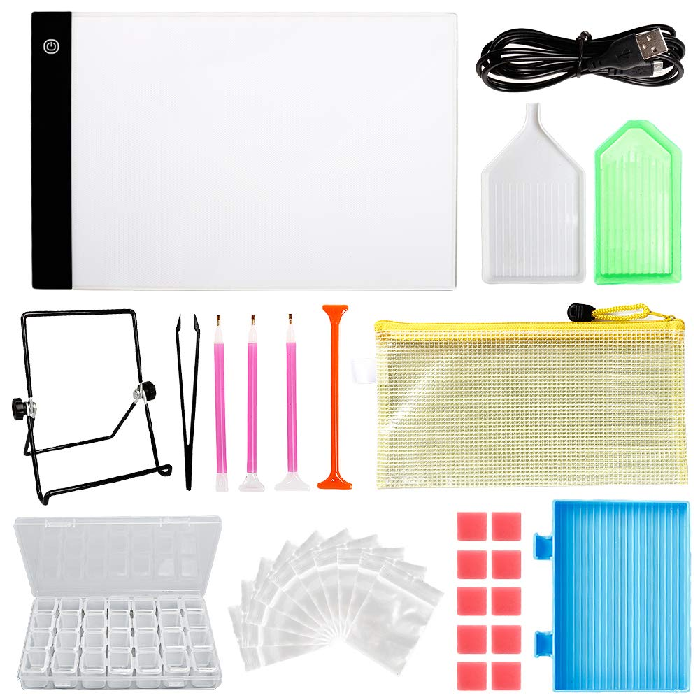 LAMPTOP Dimmable Light Box Diamond Painting Kit, Including A4 LED Light Pad Board, 30pcs Diamond Painting Tools and 28-Slot Box for Rhinestone Embroidery,Crystal Cross Stitch,Drawing,Sketching,Tracing