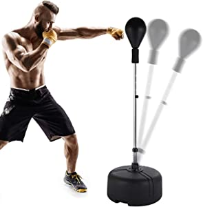Hicient Punching Bag Free Standing Boxing Bag Reflex Speed Bag with Adjustable Height Stress Relief Fitness Strong Durable for Adults Teenagers Kids Home Gym
