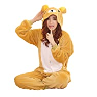 Winter Warm Flannel Onesie Pajamas Adult Unisex One Piece Cute Bear Pajama