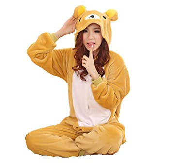 Invierno Cálido Franela Onesie pijama adulto Unisex una pieza, oso Pajama, azul, S