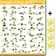 Eazy How To Yoga Wheel Exercise Workout Poster BIG 51 x 73cm Train Endurance, Tone, Build Strength & Muscle Home Gym Chart