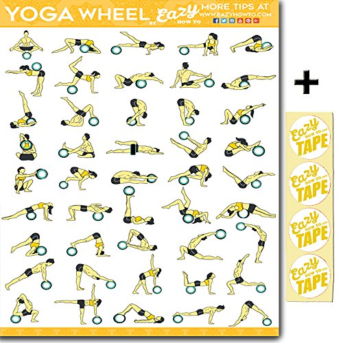 """Eazy How To Yoga Wheel Exercise Workout Poster BIG 28 X 20"""" Train Endurance, Tone, Build Strength & Muscle Home Gym Chart - Standard"""