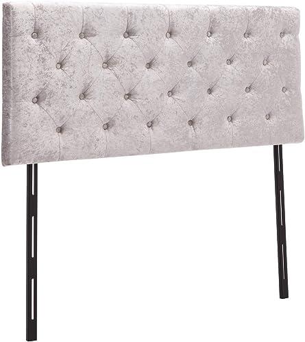 Upholstered Headboard Velvet Button-Tufted Adjustable Headboards Queen Size Grey - a good cheap modern headboard