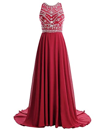 MerryJuly Womens Scoop Neckline Beaded Long Chiffon Prom Dresses for 2018 Burgundy Size 2