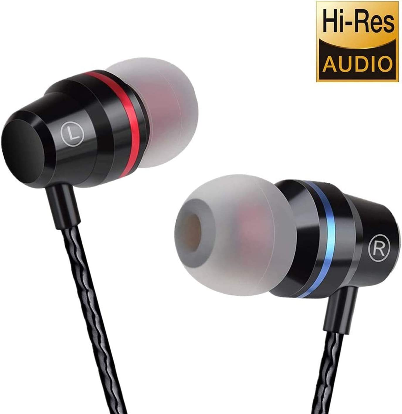 Wired Headphones with Built-in Microphone, 3.5mm Wired Earphones with Mic, Sweatproof Earbuds for Workout Sports Jogging