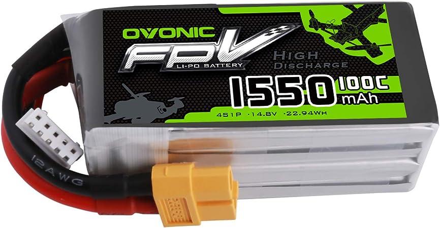 OVONIC FPV LiPo 14.8 V 1550 mAh 100C 4S batería con Conector XT60 ...