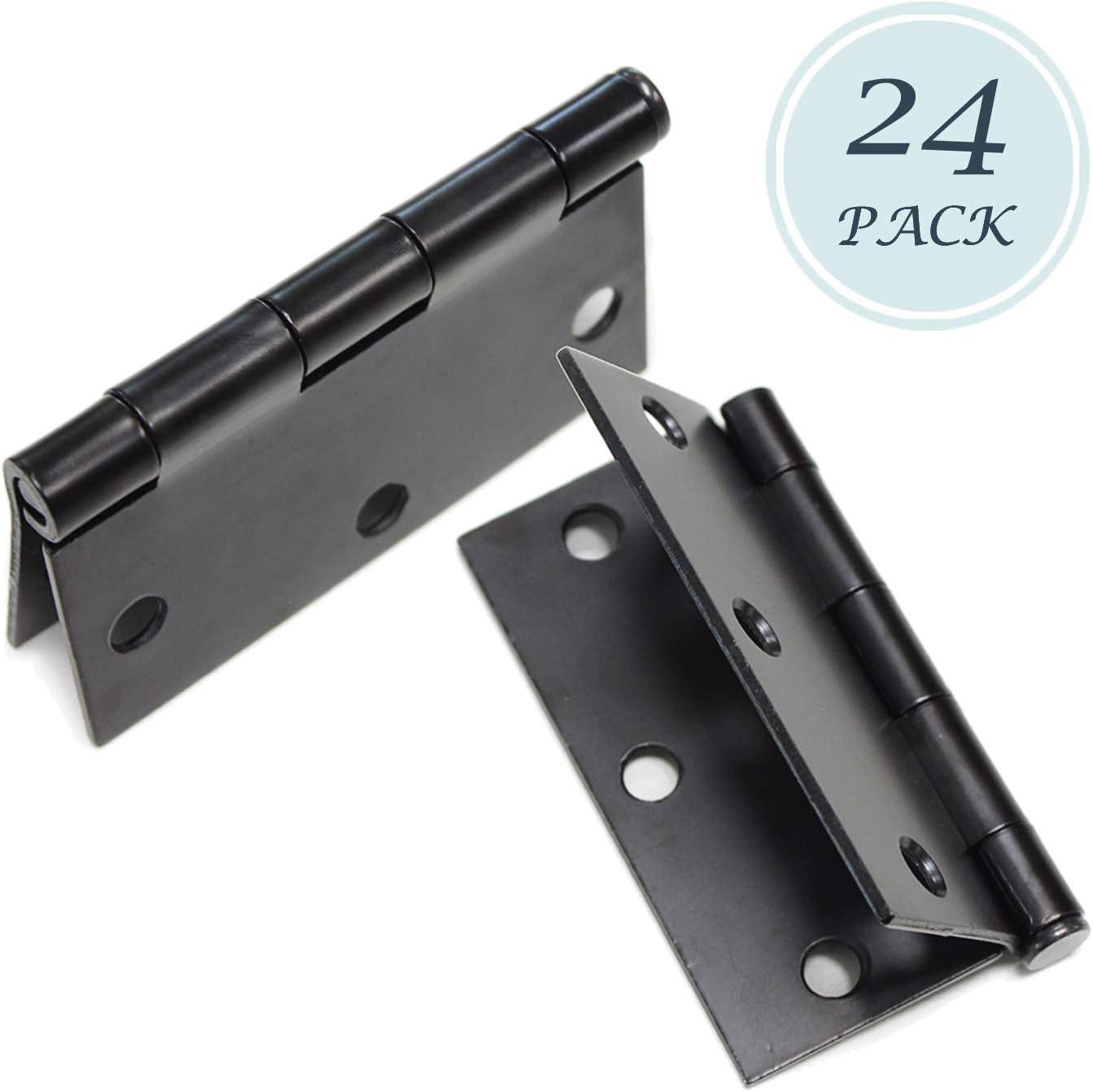 Set of 30 Hinges Door Hinges 3.5 x 3.5 Extruded Solid Brass Hinge Black Architectural Grade 1//4 Radius Corners
