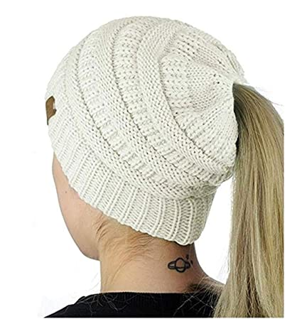 dc34356e0a1 Image Unavailable. Image not available for. Color  Heyuni.1PC Women s Warm  Cable Knitted Messy High Bun Hat Beanie with Hole for Pony