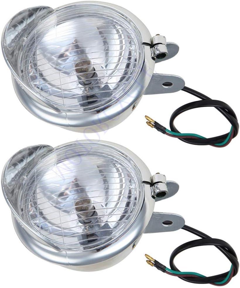 Easygo for Touring Softail Sportster XL883 XL1200 Cruiser 5 Chrome Motorcycle Front Spotlight Driving Fog Light Bulb Halogen
