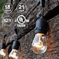 Amico 52FT Outdoor String Lights, Commercial Grade Weatherproof Yard Lights, 18 Hanging Sockets (3 Extra Bulbs Free) 11W Dimmable Incandescent Bulbs, UL Listed Patio Lights Bistro Market (52ft 1 Pack)