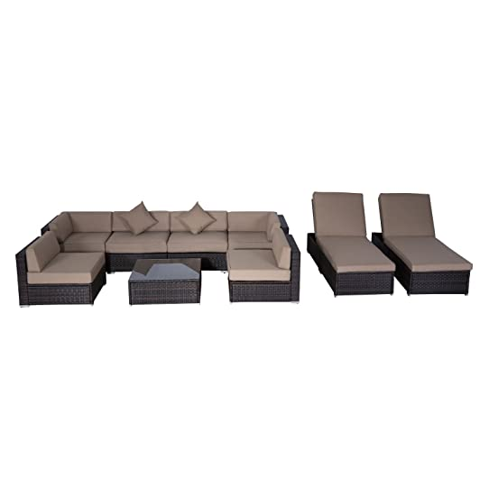 Outsunny 9pcs Outdoor Indoor Wicker Rattan Sofa Set Patio