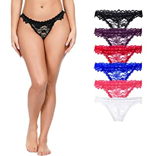 402aad0fc1d Amazon.com: Sunhusing Women's Sexy Lace Flowers Embroidered Thongs ...