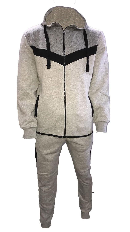 NEW Mens Hooded Sweat Top with Zipped Pocket /& Slim Fit Jog Track Pants S M L XL