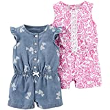 Carter's Baby Girls' 2-Pack One Piece Romper, Chambray Print/Pink Floral, 12 Months