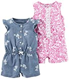 Carter's Baby Girls 2-Pack One Piece Romper, Chambray Print/Pink Floral, 9 Months