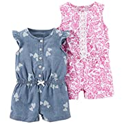 Carter's Baby Girls' 2-Pack One Piece Romper, Chambray Print/Pink Floral, 3 Months