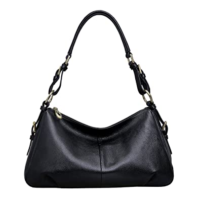 Kattee Ladies' Vintage Leather Hobo Shoulder Handbag Black