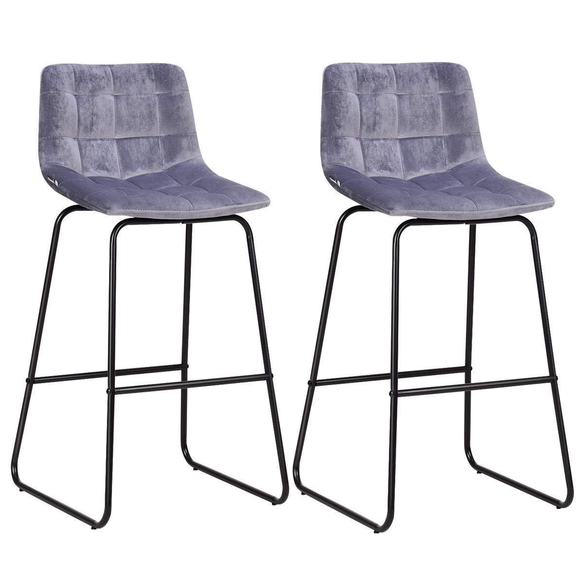 Admirable Amazon Com King 77777 Set Of 2 Velvet Bar Stools Pub Machost Co Dining Chair Design Ideas Machostcouk
