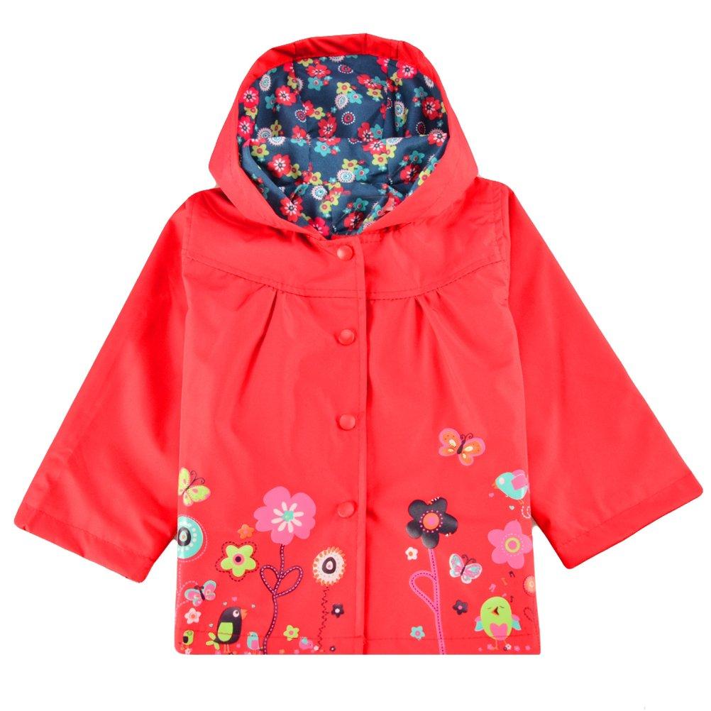 Halife Kids Toddler Girls Red Hooded Rain Jacket Flower Raincoat Hoodies
