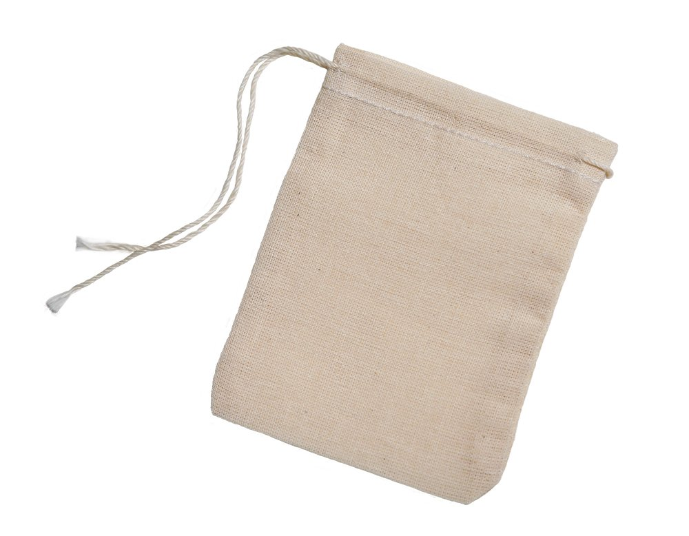 Cotton Muslin Bags 100 Count (2.75 x 3.75 inches) Natural Drawstring, made with 100% cotton in the USA by Celestial Gifts 3x4