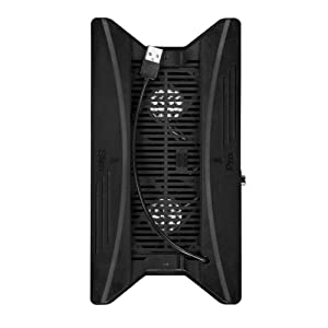 Vertical Stand with Cooling Fan for PS4 Slim / Pro, Controllers Charging Station with Dual Charger Ports and USB HUB for Console Dualshock 4 Controller ( Not for PS4 Pro )