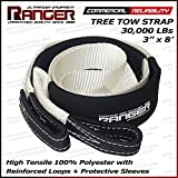 """Ranger 3"""" x 8' Tree Saver Strap for Tow Winch Recovery Heavy Duty with Reinforced Loops + Protective Sleeves 30,000 lb Breaking Capacity 13.6 Tons"""