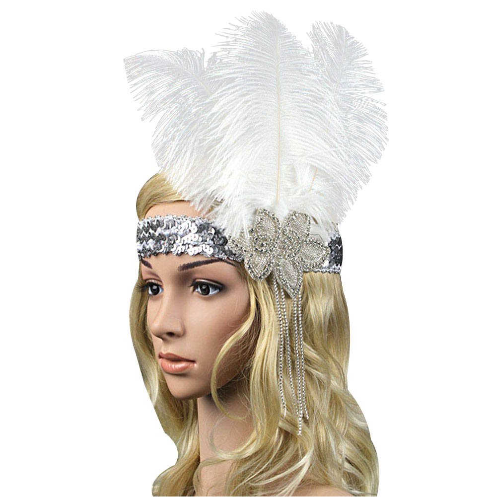 ACTLATI Fashoin White Feather Headband Crystal Elastic Fascinator Paillette Cocktail Party Girls Women Hair Band