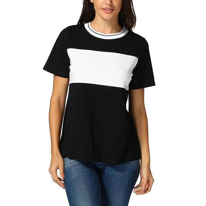 OHQ Camisetas Mujer Verano Blusa Camiseta De Mujer con Cuello Redondo Cosido Camisas De Manga Corta Sueltas Flojas Ocasionales De Las Mujeres Tops Blusa ...