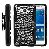 Galaxy Grand Prime Case, Galaxy Grand Prime Holster, Two Layer Hybrid Armor Hard Cover with Built in Kickstand for Samsung Galaxy Grand Prime SM-G530H, SM-G530F (Cricket) from MINITURTLE | Includes Screen Protector - Smoke Gray Scales