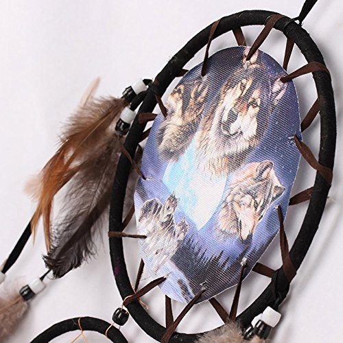 YK Handmade Dream Catcher Wall Hanging Decoration Ornament Dreamcatcher with Feathers ( Wolf-1)