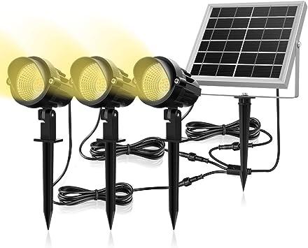 Luces Solares para Exterior, MEIKEE 3 en 1 Luces Led de Jardín Solar 6V/3W, Impermeable IP66, Blancas Cálidas 3000k, Proyector Solar Exterior 270º Gran Angular Ajustable para Patio/Césped/Camino: Amazon.es: Bricolaje y herramientas