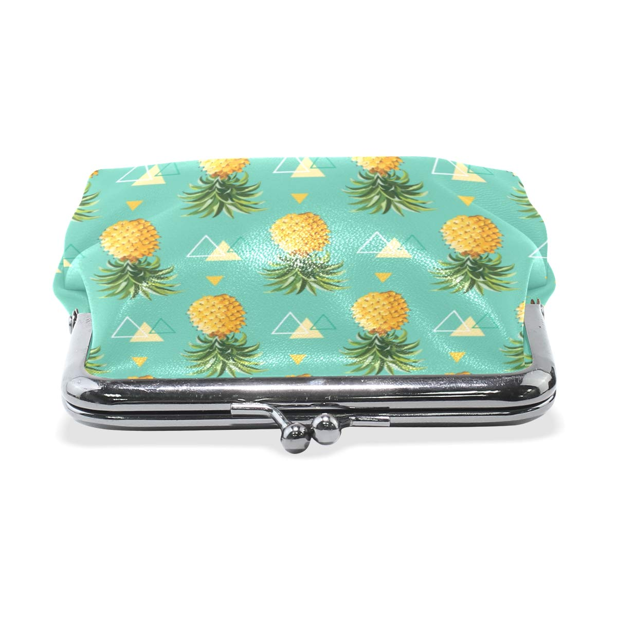 LUPINZ Tropical Pineapple And Plam Leaves Pattern Leather Coin Purse Wallet Snap Closure Clutch