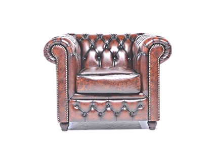 Original Chesterfield Chair   1 Seater   Full Real Hand Washed Leather    Antique Brown