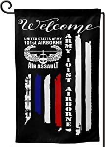 US Army 101st Airborne Air Assault American Flag Garden Flag 12.5 X 18 in Size Banner for House Decoration Banner Outside Yard Mailbox Banner Double-Sided Printing