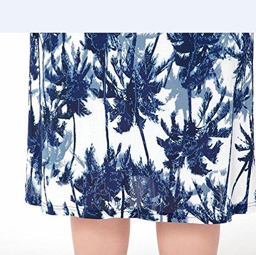 Verano Señora Maxi impresión v-cuello delgado vestido en falda de playa , 4xl , pictures color