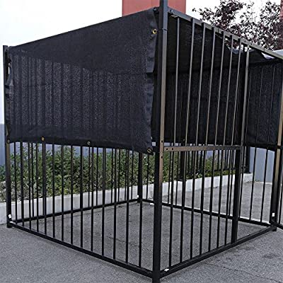 10' X 10' Black UV Rated Dog Kennel Shade Cover W/Grommets by FenceSmart