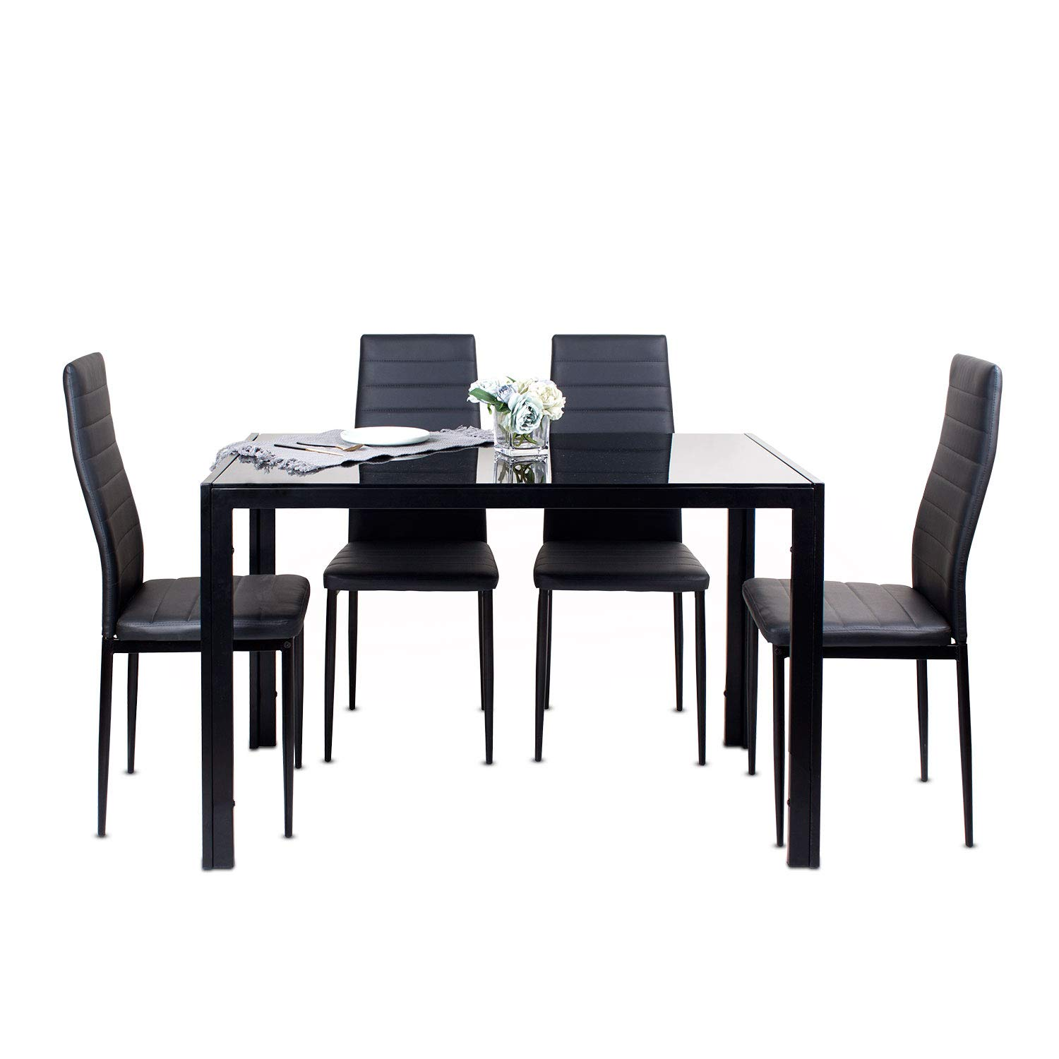 Modern Rectangular Glass Dining Table And Chair Set Of 4 Small Round Table With Metal Leg White Eiffel Dining Chair For Dining Room Kitchen Furniture Rectangular Table 4 Black Chair Buy Online In