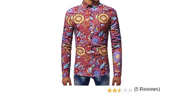 Blusa Estampada de Moda para Hombre Camisas de Manga Larga Casual ...