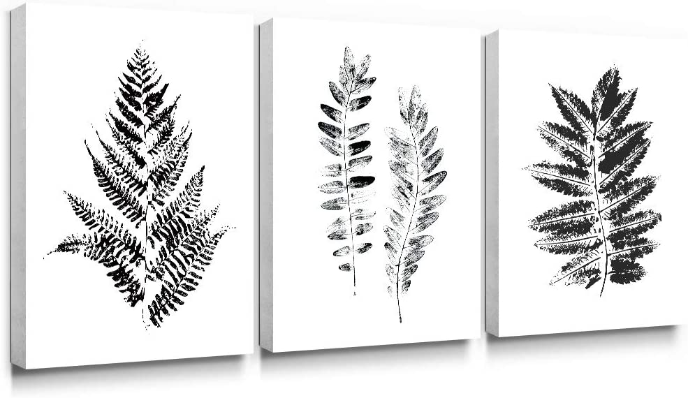 Gronda Black and White Canvas Wall Art Modern Home Decor Botanical Leave Painting Fern Leaf Plants Artworks for Bathroom Bedroom Living Room Ready to Hang 12×16 Inch, 3 Panels