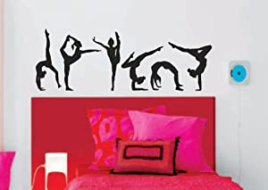 "N.SunForest Gymnastics Girls Silhouettes Style Sports 16"" H x 46"" W - Set of 6 Wall Vinyl Decal Stickers Art Girl Kids Room Decor Nursery Home Wall Decor"