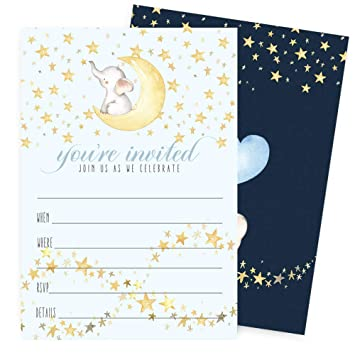 Starry Elephant Invitations With Envelopes For Boys Baby Shower Birthday Party Baptism Kid