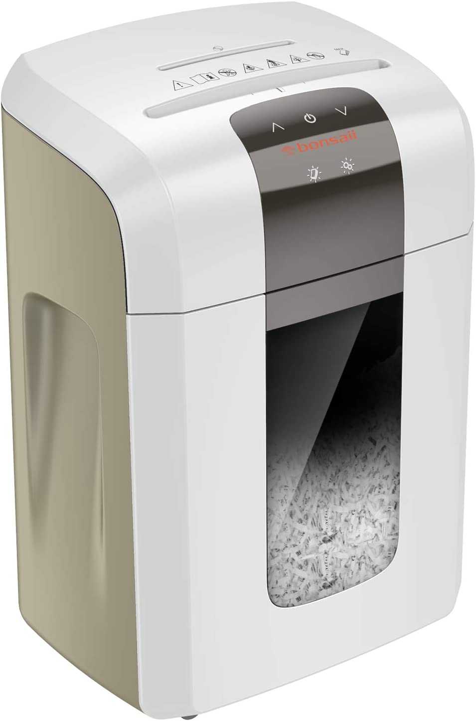 Bonsaii Paper Shredder, 120 Minutes Continuous Running Time, 8-Sheet Heavy Duty Micro Cut CD Credit Card Shredder for Office with 6 Gallons Pull-Out Basket and 4 Casters, White