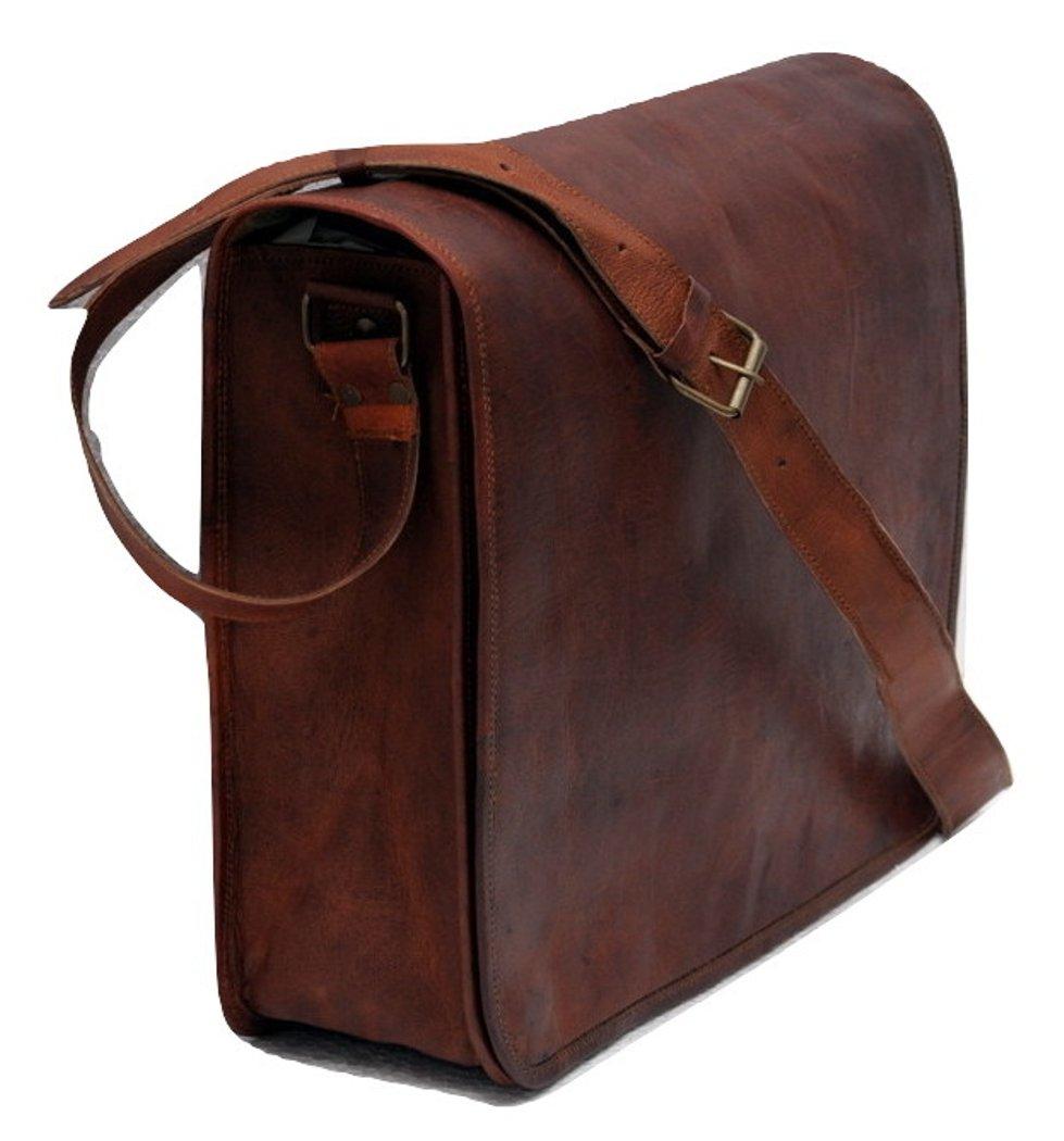 c0c2f0e126 Amazon.com  15 Inch Leather Full Flap Messenger Handmade Bag Laptop Bag  Satchel Bag Padded Messenger Bag School Brown (15X11)  Computers    Accessories