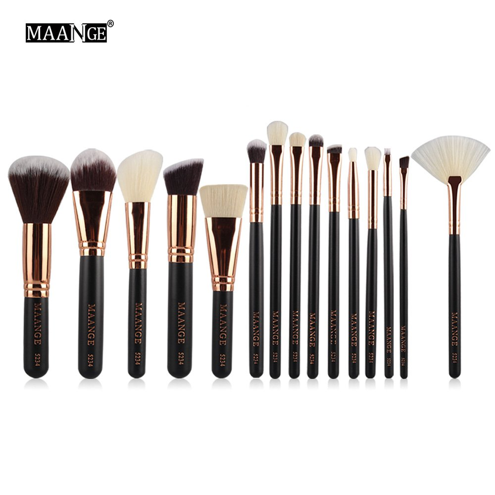 A-store Silking 15Pcs Makeup Brushes Set, Soft Synthetic Foundation Eyeshadow Blusher Beauty Cosmetic Tools( Black)